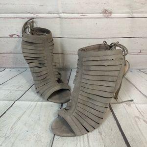 Steve Madden 10 gray Caged heels peep toe bootie